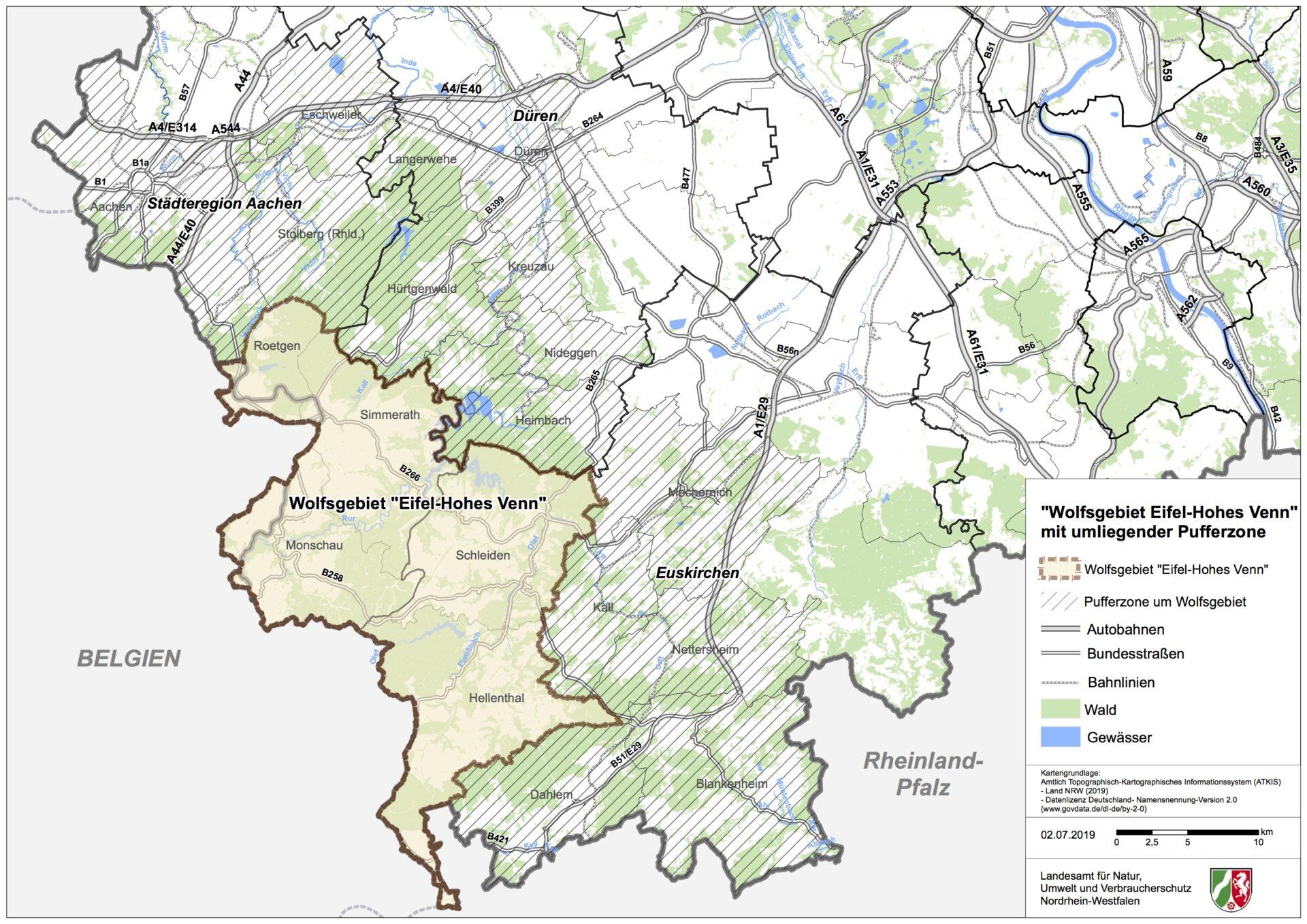 Karte Eifel.Nordrhein Westfalen Eifel Hohes Venn Ist Drittes Wolfsgebiet