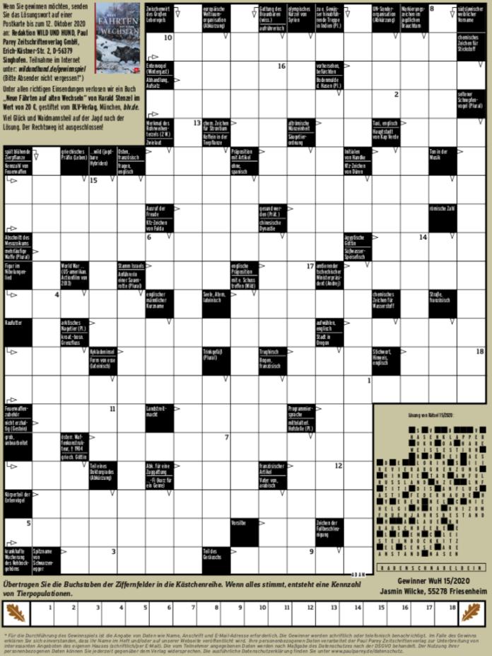 Anzeige Kreuzworträtsel