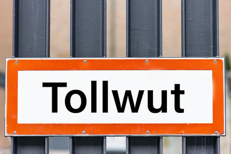 """Schild mit der Aufschrift """"Tollwut"""""""